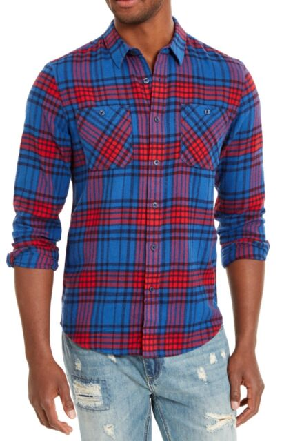 American Rag Mens Shirt Blue Red Size Medium M Button Up Plaid Flannel $45 #434
