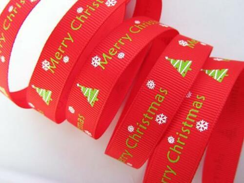 "5 yard Merry Christmas Tree Printed Grosgrain 5//8/"" Ribbon//craft//polyester//bow R1"