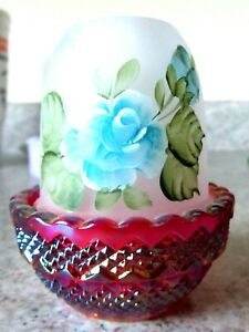 Mosser-Glass-Red-Carnival-Crystal-Satin-Handpainted-034-Blue-Floral-034-Fairy-Lamp