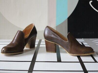 Fornitura Saturno Scarpa Da Donna Tacco Alto Marrone Pelle 90er True Vintage 90s Shoes Pumps Nos-mostra Il Titolo Originale