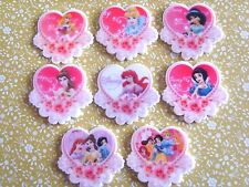 8 x Lovely Disney Princess Heart Flatback Planar Resin Embellishment Hair bow UK