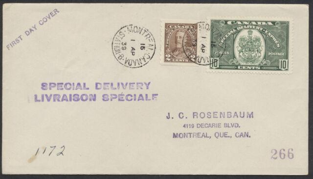 1939 #E7 10c Special Delivery FDC, J C Rosenbaum, Montreal Stn B CDS