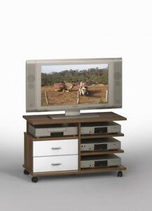 Details zu TV-Bank TV-Wagen Fernsehwagen TV-Schrank Sideboard auf Rollen  merano - weiss NEU