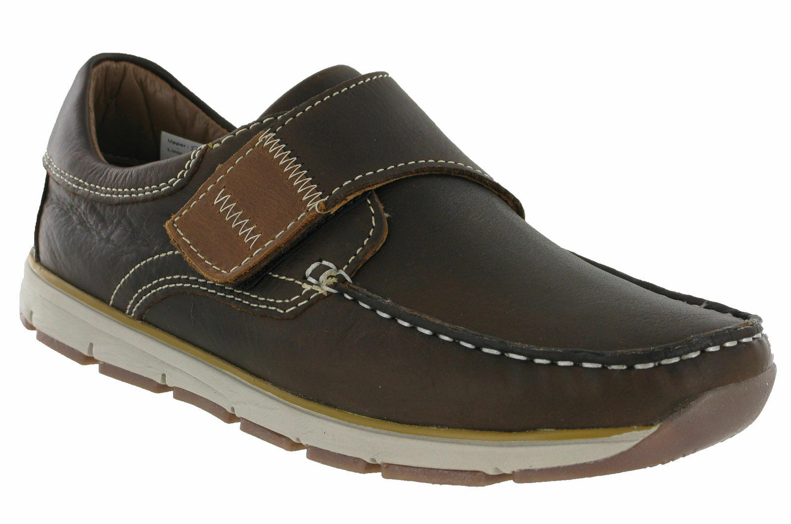 Roamers Moccasin Boat shoes Touch Fastening Leather Lined Lightweight Mens