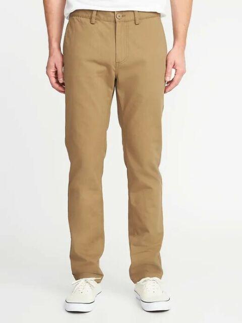 Mens Old Navy Slim Stretch Khaki Pants (Flat Front) - 32 x ...