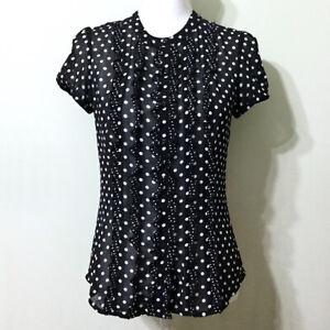 LOFT-Polka-Dot-Sheer-Blouse-0-XS-Black-White-Short-Sleeve-Ruffle-Button-Down-Top