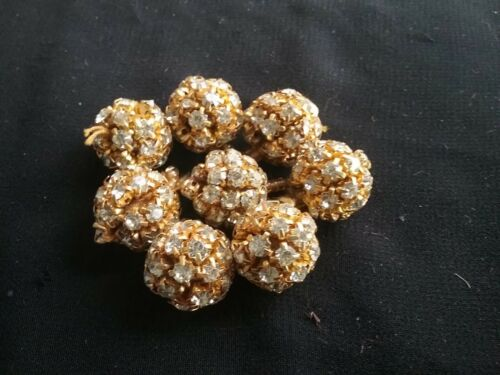 Ball Indian pom pom 3 x Stunning Round Diamante Gold Buttons
