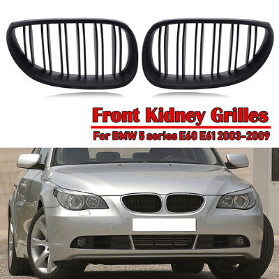 Left Right Gloss Black M-color Front Upper Kidney Grille Comaptible with 2003-2010 E60 Sedan E61 Touring 5 Series