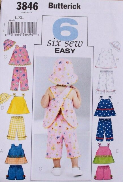Butterick Sewing Pattern 3846 Baby Clothes L-xl Top Shorts Pants Hat ...