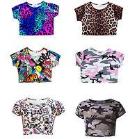 Girls Print Crop Top Kids Short sleeve Summer T-Shirts Dance Year Age 7-13 Years