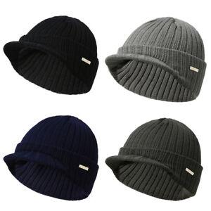 Men Women Winter Knit Hat Ski Cap Beanie Hat with Brim Watch Cap ... 69e9c1774a8