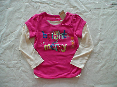 Gymboree Color Happy 6-12-18-24 2T 3T 4T Shirt Pink Bright and Merry Holiday 13