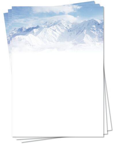 Motivpapier Briefpapier Winter-5156, DIN A4, 100 Blatt Winterlandschaft Berge