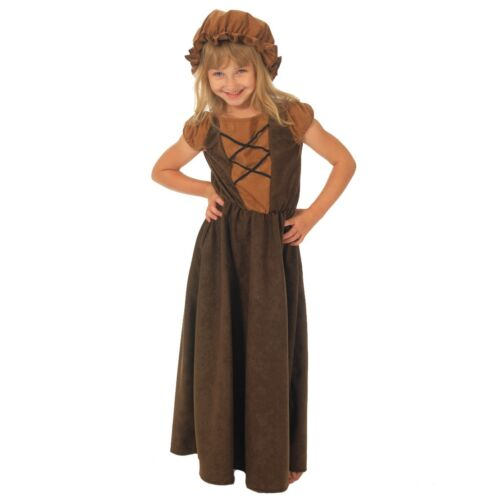 Girls Brown Victorian Poor Peasant Maid Girl Book Day Fancy Dress Costume Outfit