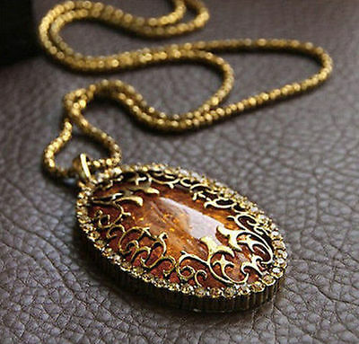 NEW Women Oval Amber Hollow Rhinestone Long Chain Pendant Necklace Jewelry
