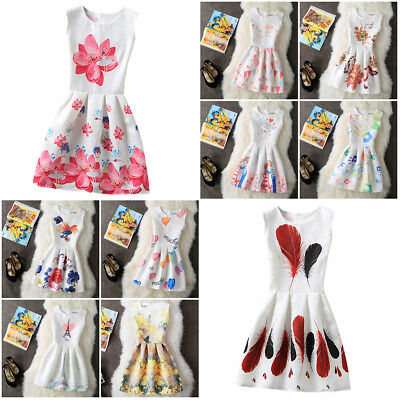 New Cute Sleeveless Womens A-line Printed Girls Dress Summer Party Kids Clothes