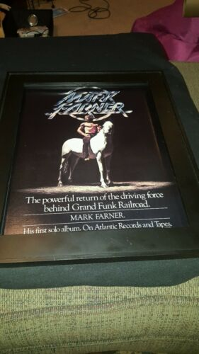 Mark Farner Grand Funk Railroad Rare Original Solo Album Promo Poster Ad Framed!