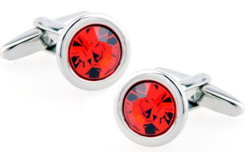 Petite Cristal Rojo y Plata para Hombre Boda Regalo Gemelos por Gemelos directo