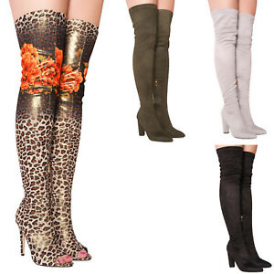 Ladies-Womens-Thigh-High-Over-The-Knee-Peep-Toe-Leopard-Fashion-Boots-Size-3-8
