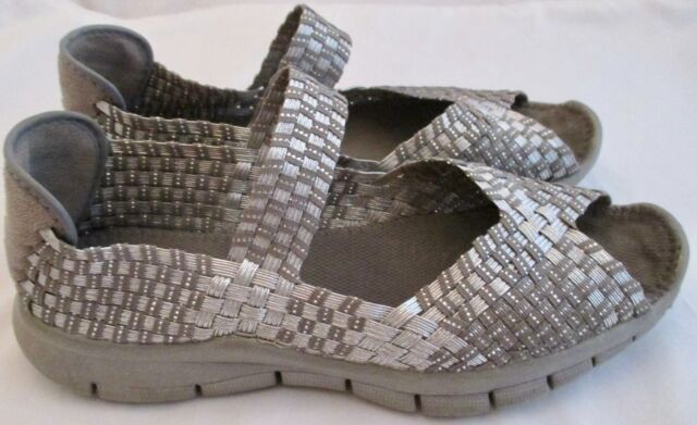 56f0a366a05 Bernie Mev Women s Shoes Silver Pewter Two Toned Elastic 39   8.5 Open Toe  Gray