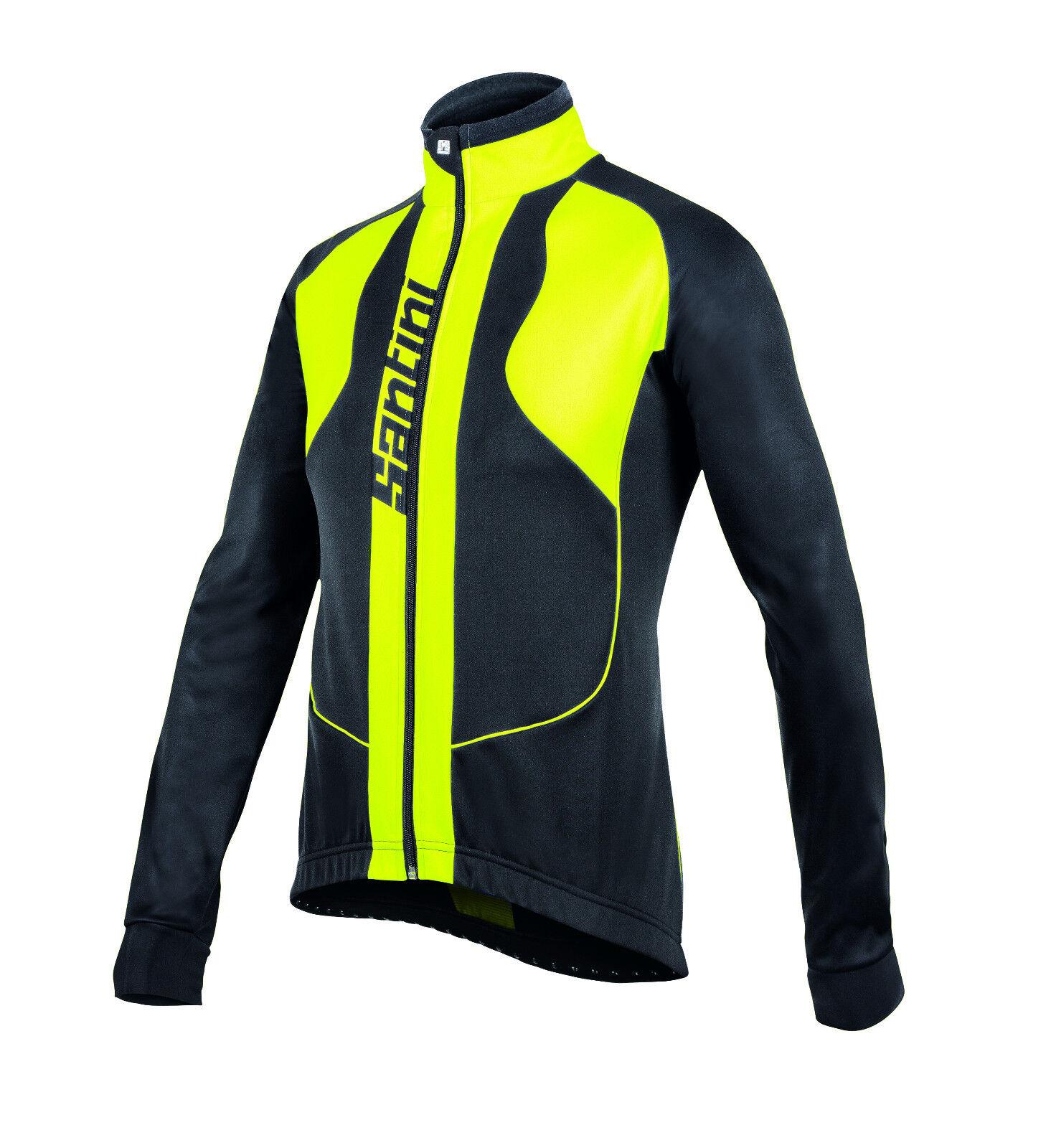 Rebel Ciclismo Resistente Al Viento chaqueta en negro amarillo Hecho En Italia Por Santini