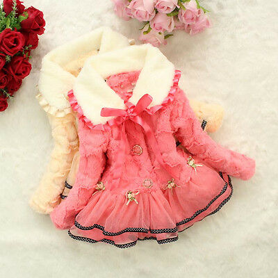 Girls Kids Baby Toddler Faux Fleece Lace Jacket Coat Snowsuit Outwear Dresses
