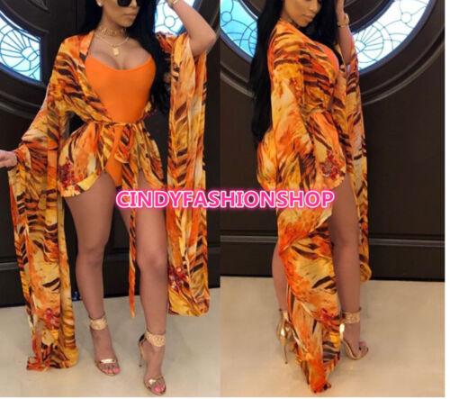Women Two Piece Set Beachwear  Bodysuit Women Print Chiffon Bohemian Bodysuit #B
