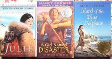Lot of 3 Newbery: Blue Dolphins, Girl Named Disaster, Julie Wolves VGC Paperback