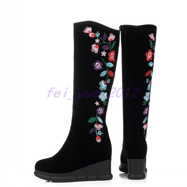 Womens Ethnic shoes Platform Suede Embroidery Wedge Heels Zip Knee High Boots
