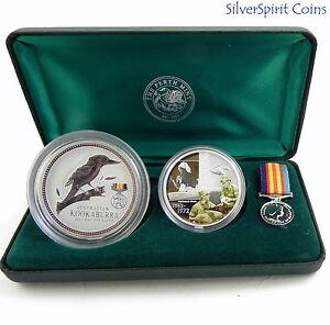 2003-AUSTRALIANS-AT-WAR-VIETNAM-2oz-Kookaburra-Coin-amp-1oz-Medallion-Set