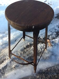 Vintage Ice Cream Parlor Stool Twisted Steel Legs Primitive Wooden Seat Wow! Benches & Stools