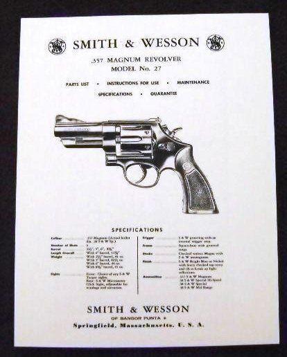 smith wesson 357 magnum model 27 revolver manual sw 5 ebay rh ebay com smith wesson manuals smith wesson 686 manual