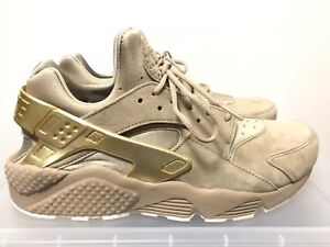 d94b86d72ec1 Nike Air Huarache Run Premium 704830-201 Khaki Metallic Gold Sz 9.5 ...