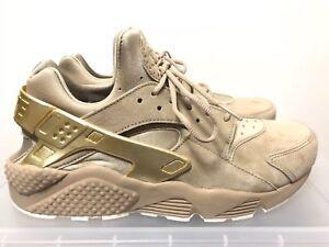 5854d6a27b6f Nike Air Huarache Run Premium 704830-201 Khaki Metallic Gold Sz 9.5 ...