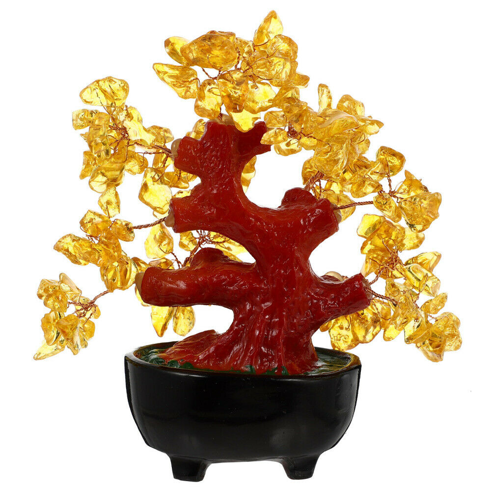 1PC Decorative Yellow Crystal Fortune Tree for Dorm Store Room