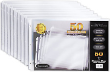 50 Pack 11x17 Inch Heavyweight Diamond Clear Sheet Protectors Side Loading Led