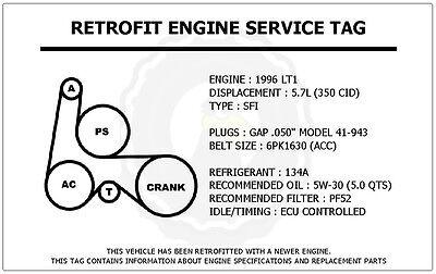 1996 Lt1 5 7l Impala Ss Retrofit Engine Service Tag Belt Routing Diagram Decal Ebay