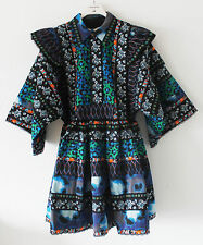 New H&M x Kenzo Paris Women`s Patterned Folk Dress Dark Blue Green XS Small HM