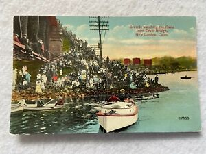 Crowds watching the race, New London Connecticut  Vintage Postcard