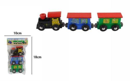 Treno Trenino In Legno Con Animali Colorato Gioco Giocattolo Bambini dfh