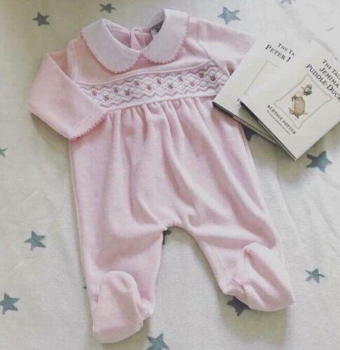 Espagnole traditionnelle style bébé fille velours smocks Babygrow-Rose