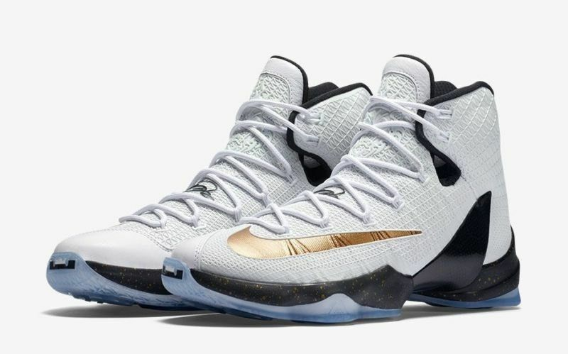 NIKE LEBRON XIII 13 ELITE WHITE  METALLIC gold-BLACK 831923-170 Sz 10