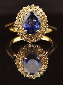 Fine Jewelry 2.10ct Natural Tanzania Blue Tanzanite Egl Certified Diamond Ring In 14kt Gold Jewelry & Watches
