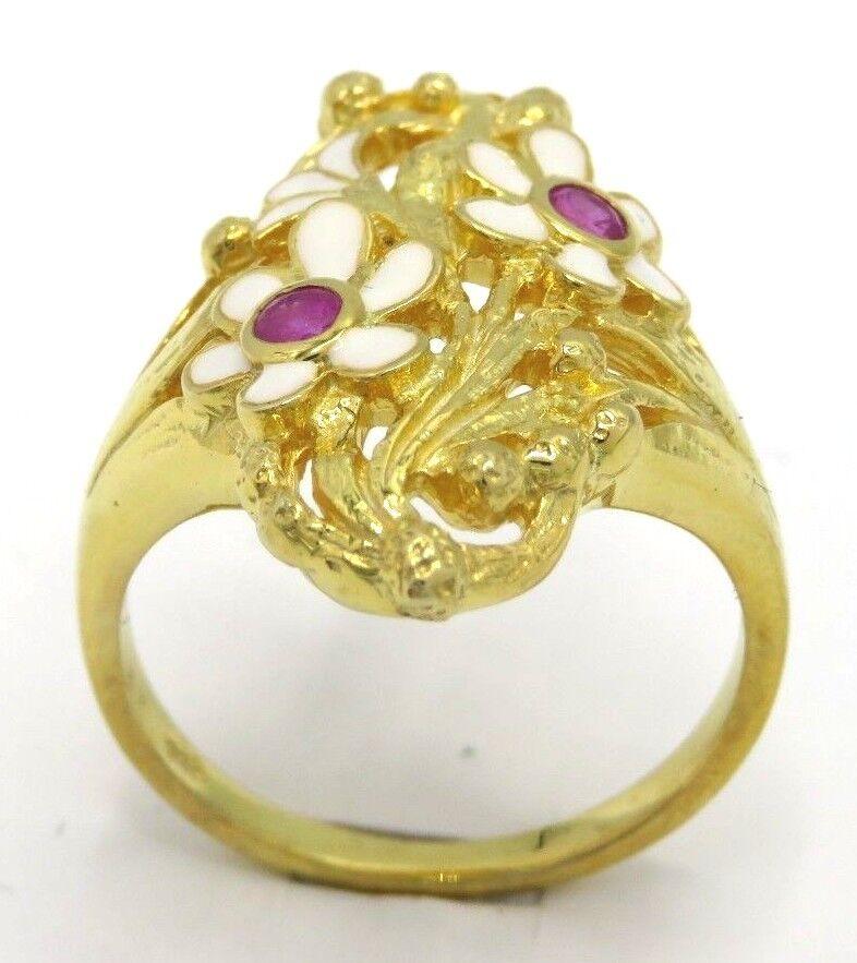 Anello Anello Anello rubino SMALTO 925 Sterling argentoo dorato antico Style dimensione 54 945a25