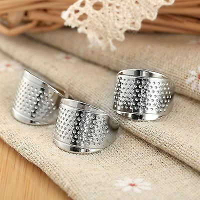 3Pc Silver Finger Thimbles Adjustable Ring Thimble Sewing Home Craft Stitch Tool