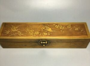 Collect Old copper carve magpies & flower lovely Jewelry Boxes Jewel Storage Box