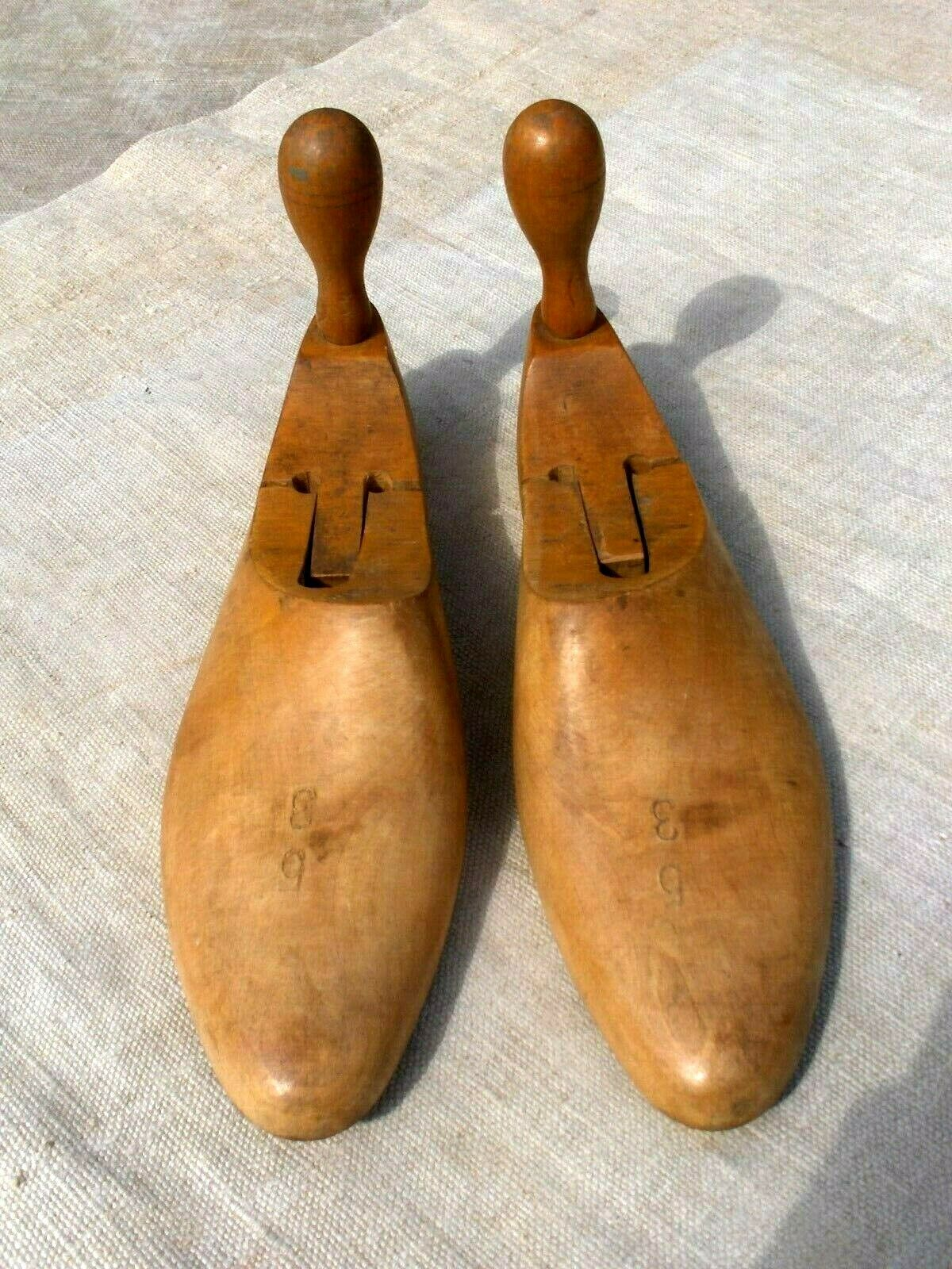 29x22cm Rare 1940/'s Vintage Pair of  Wooden Shoes stretchertrees