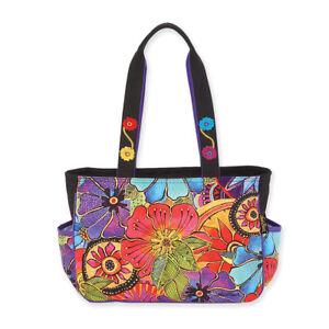 Details about Laurel Burch Floral Flora Flower Medium Tote Handbag Purse  Purple