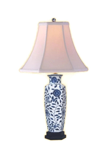 Chinese Blue And White Porcelain Vase Fl Vine Motif Table Lamp 24