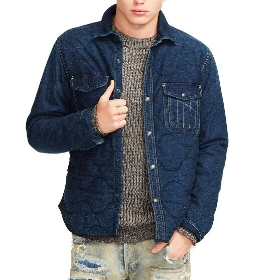 POLO RALPH LAUREN DENIM AND /& SUPPLY INDIGO QUILTED MILITARY SHIRT JACKET $298+